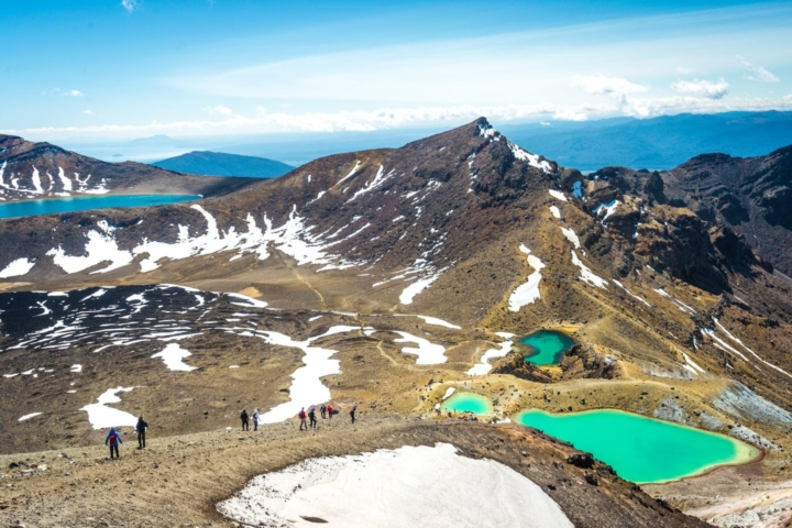View from the Tongariro Alpine crossing: lakes, volcanic activity, mountains. Great Hike in New Zealand, one of the top site