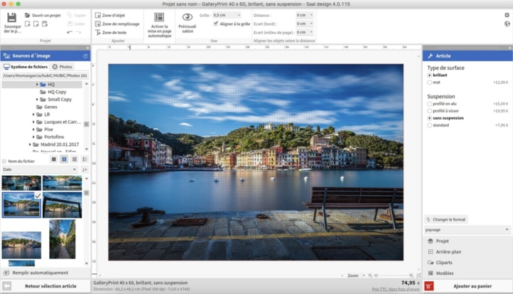 Interface de design impression tableau Saal digital