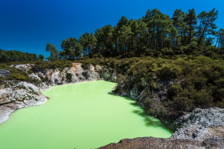 Green lake in Way-o-Tapu, New Zealand due to geothermal activity