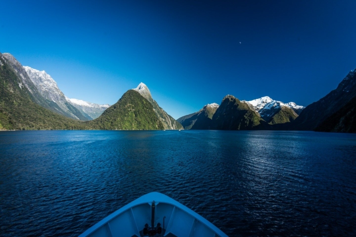 Cruise in Milford Sound, New Zealand, heading to Mitre Peak and all around.