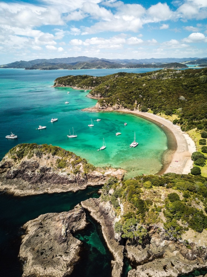 Flying over Bay of Islands, New Zealand