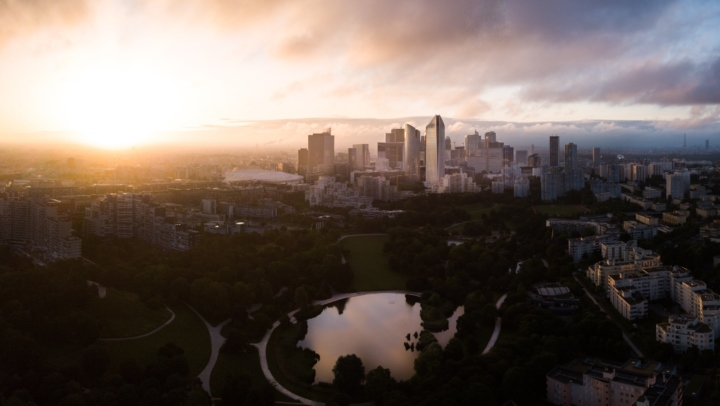 Drone over La Défense at sunrise, Paris, France