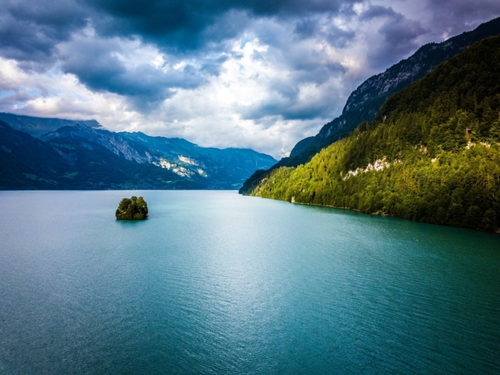 Drone view of a small island of Interlaken, Switzerland