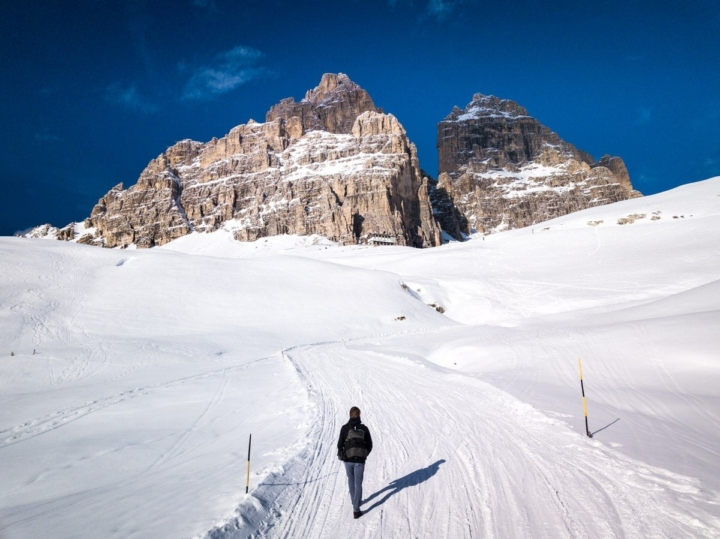 Lonely walking to Tre Cime di Lavadero in winter