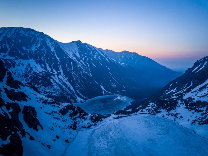 Morskie Oko at blue hour from a drone view (Tatras Mountains, Poland)