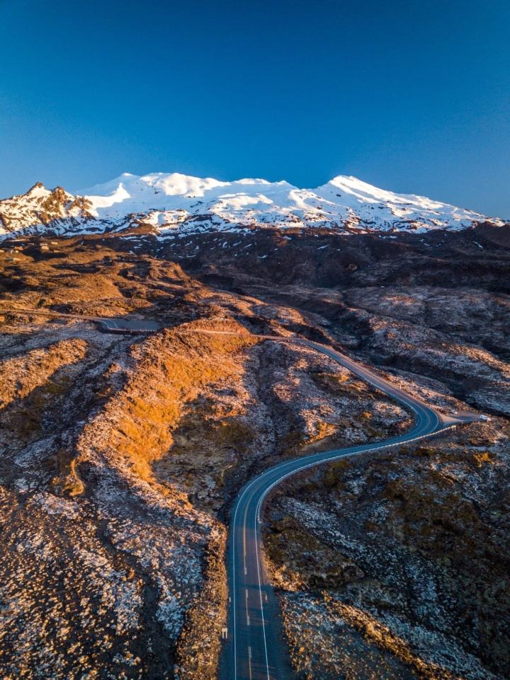 Road leading to the Tongariro at sunset, New Zealand