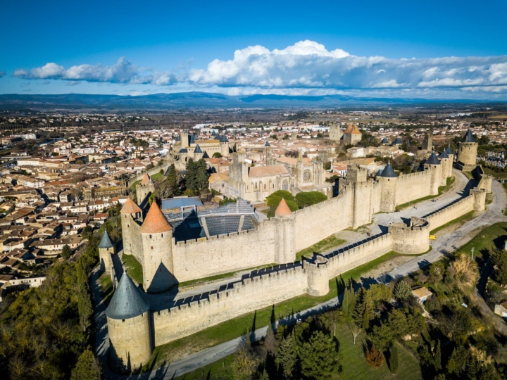 View on Carcassonne fortress (France), amphitheater from a drone.
